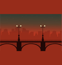 Silhouette of bridge with lamp landscape vector