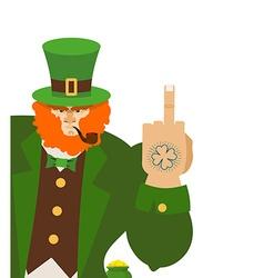 Angry leprechaun shows Bad elf with smoking vector image vector image