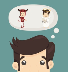 Businessman wills with devil and an angel vector image