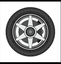 car wheel with disc brake vector image vector image