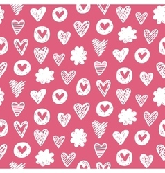 Hearts shapes romantic seamless pattern vector image