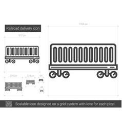 railroad delivery line icon vector image