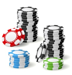 Stacks of gambling chips with leaning and pile vector image