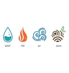 Four elements flat style symbols Water fire air vector image vector image