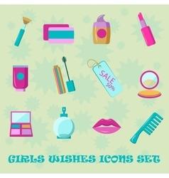 Girls wishes icon set Flat style shopping vector image