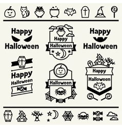 Happy halloween set of badges and icons vector image vector image