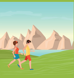 man and woman jogging vector image vector image