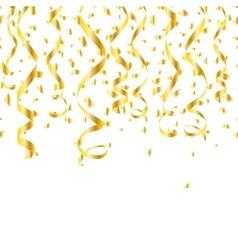 Party golden confetti streamers vector