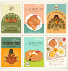 thanksgiving day posters set vector image