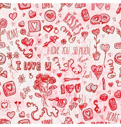 Watercolor Valentines day pattern vector image vector image