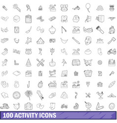 100 activity icons set outline style vector image