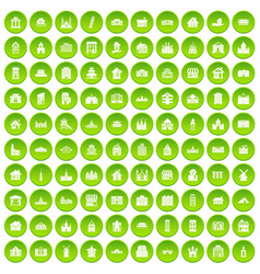 100 building icons set green vector