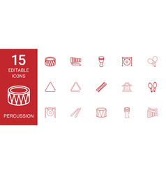 15 percussion icons vector image