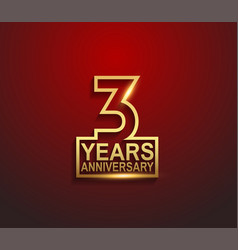 3 years golden anniversary line style isolated vector