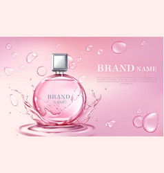 3d realistic perfume bottle ad poster vector
