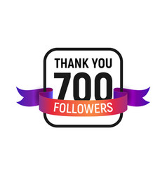 700 followers number with color bright ribbon vector image