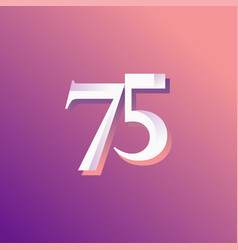 75 years anniversary rainbow number template vector