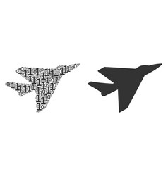 Airplane intercepter collage of binary digits vector