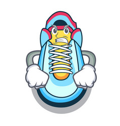 Angry cartoon sneaker with rubber toe vector