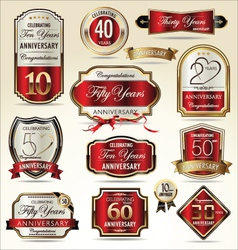 Anniversary red and gold label set vector