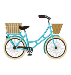 antique bicycle with basket vector image