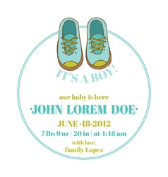 Baby shower and arrival card - shoes theme vector