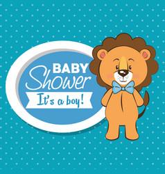 Baby shower boy invitation card vector