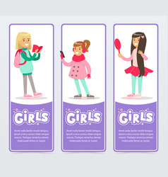 beautiful smiling school girls banners set flat vector image
