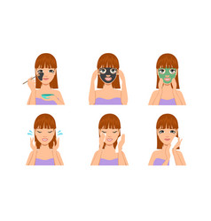 Beautiful woman with facial mask woman covering vector