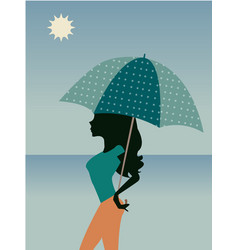 beautiful woman with umbrella polka dots vector image
