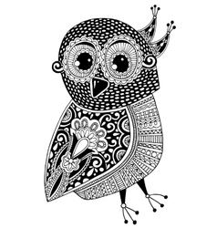 Black and white original ethnic owl ink drawing vector
