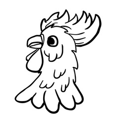 black and white rooster vector image