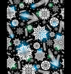 Black christmas seamless pattern background vector