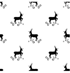black deer seamless pattern fashion graphic vector image