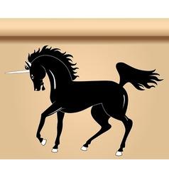 black heraldic unicorn vector image