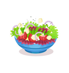 Bowl of vegetable salad with cheese healthy vector