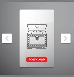 Box chest gold reward treasure line icon in vector