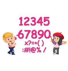 boy and girl painting number and sign on the wall vector image