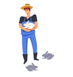 Breeding man holding hare farmer tending for vector