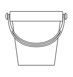 Bucket with handle in monochrome silhouette vector