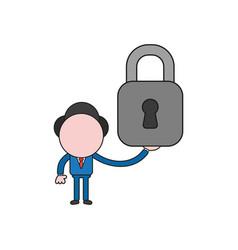 Businessman character holding closed padlock vector