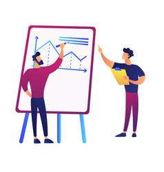 businessman drawing chart on presentation board vector image