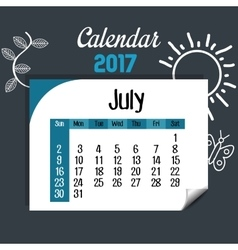 calendar july 2017 template icon vector image