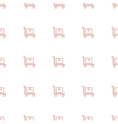 cargo on cart icon pattern seamless white vector image