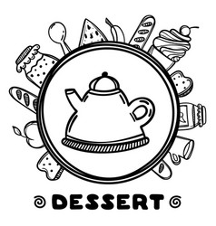 cartoon teapot with food on white background hand vector image