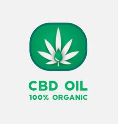 cbd oil icon with cannabis leaf medical oil vector image