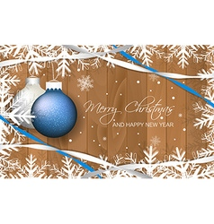 Christmas baubles and ribbons on wooden texture vector image