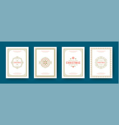 christmas cards vintage typographic design ornate vector image