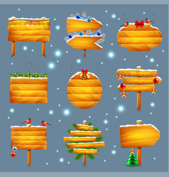 Christmas wooden signs set vector