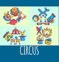 Circus concept banner cartoon style vector